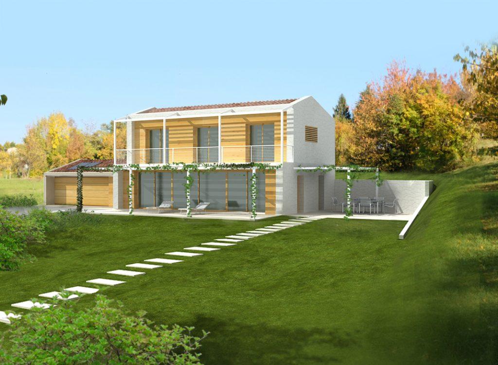 Casa in legno ecologica passiva a chiuppano carr for Progetti di villette in campagna